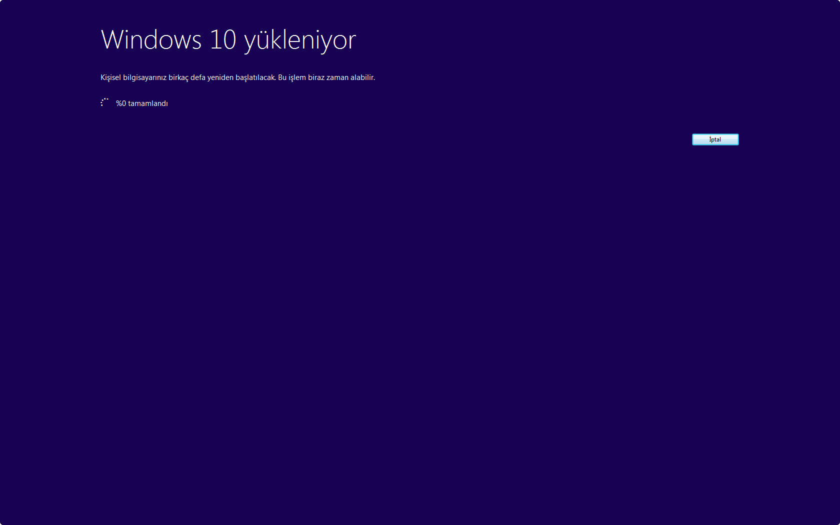 Windows 10 yükleniyor