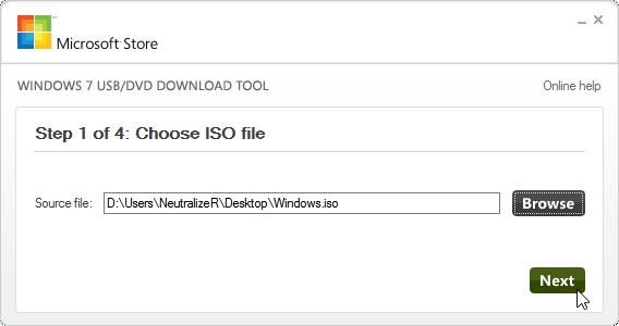 Choose ISO file Next